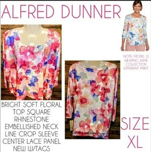Alfred Dunner Top Size XL Floral Rhinestone NWT